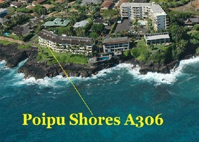 Aerial view of Poipu Shores and the location of A306