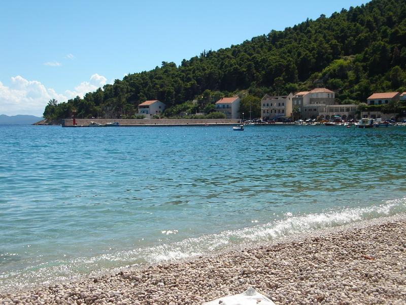 The sea in the Trstenik bay is crystal clear.