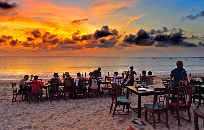 Sunset dinner on Jimbaran beach