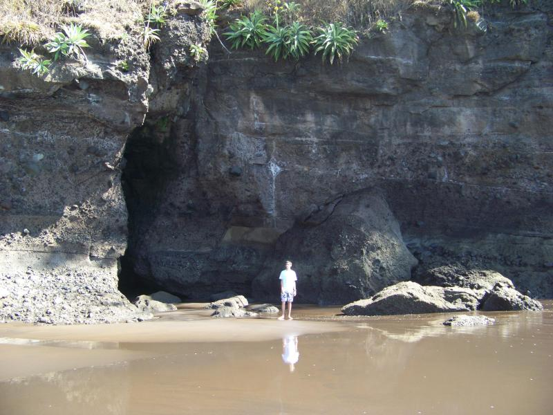 caves at the end of the beach