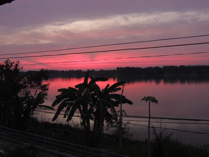 Sunset over the mekong from the terrace