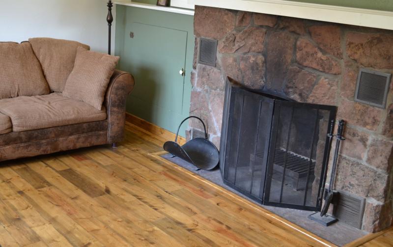 Musgo piedra chimenea de leña en sala de estar