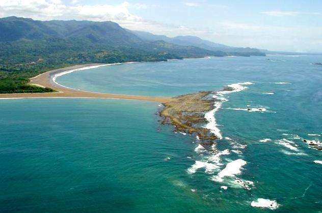 Aerial View 'Whale Tail' Marino Ballena National Park