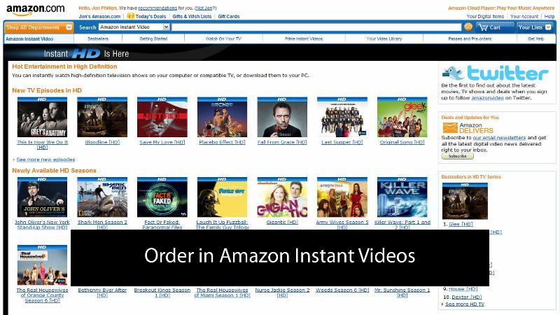Order in Amazon Instant Videos