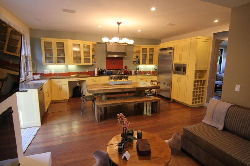 Kitchen/Family room with farmhouse table.