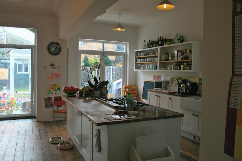 Open plan, eat-in kitchen