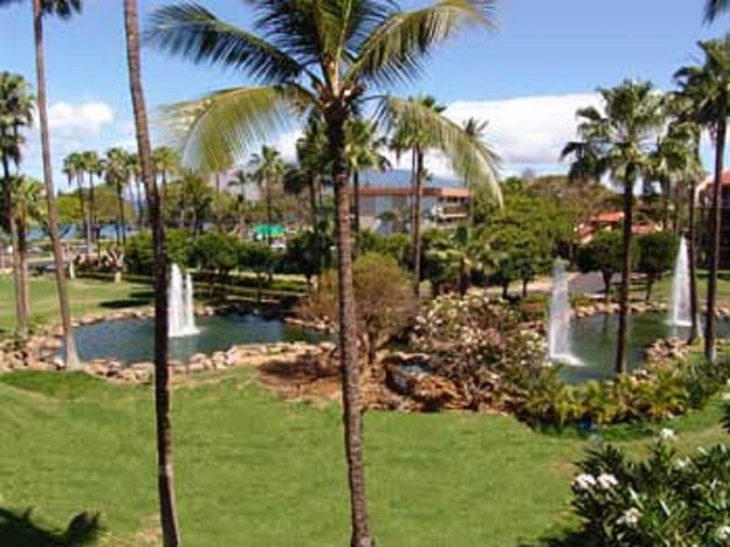 View from lanai, both fountains on property