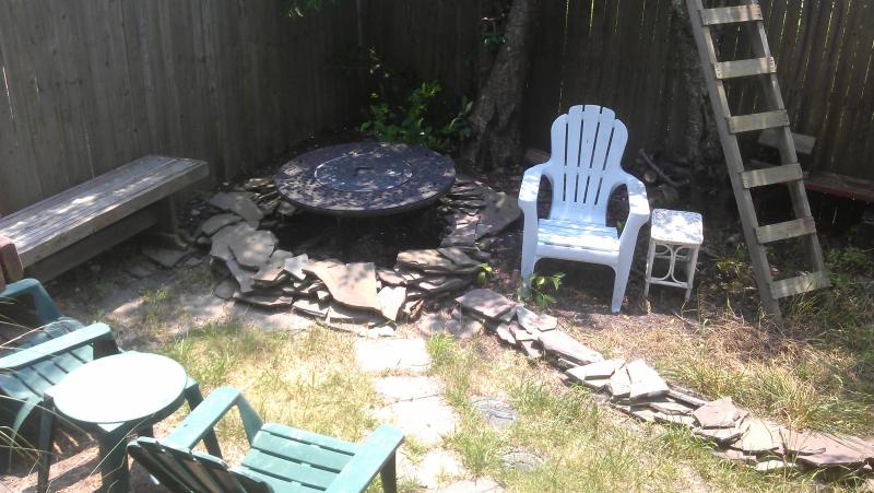 Small back yard & deck: seating, 2 electric grills, fire pit