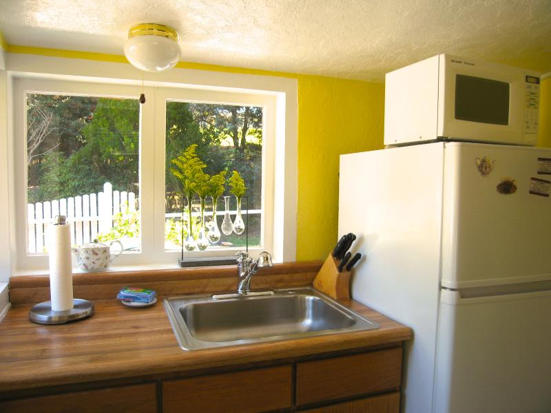 Fully equipped kitchen overlooking the yard.