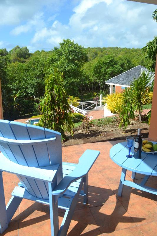 Private Apartment Deck with view of Gazebo and Pool