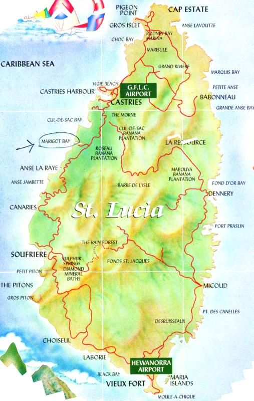 map of St. Lucia
