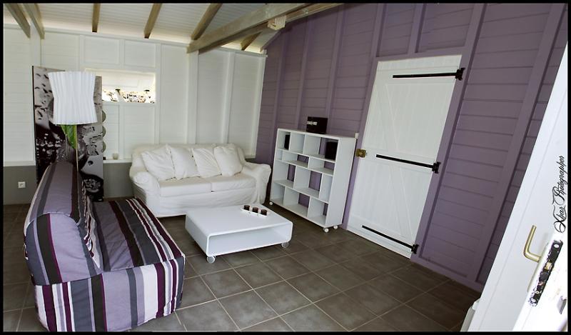 Salon confortable largement ouvert sur l'exterieur / comfortable lounge widely open to the outside