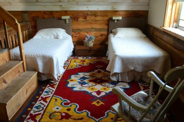 twin beds in lower loft