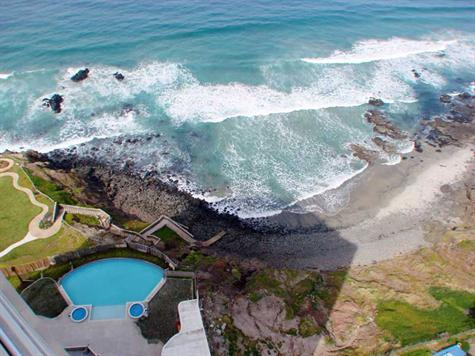 sky view of private beach and infinity pool