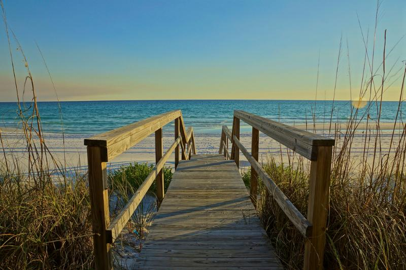 Walk out to the Emerald Green Waters of Miramar Beach