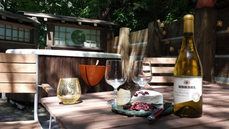 Wine from Korbel winery (located accross Russian river) on the North deck