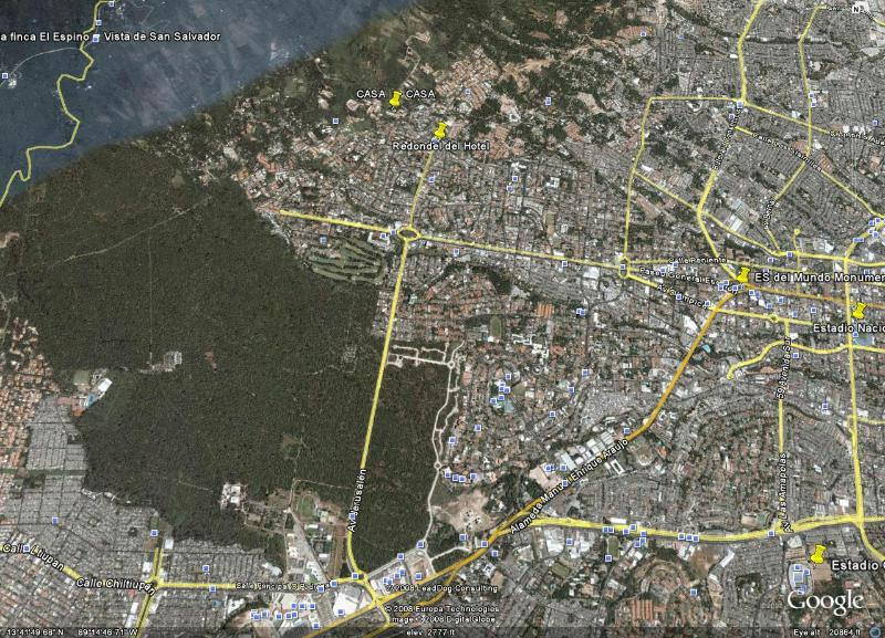 Aerial location of house in San Salvador