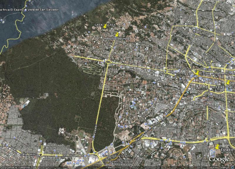 Ubicación aérea de casa en San Salvador