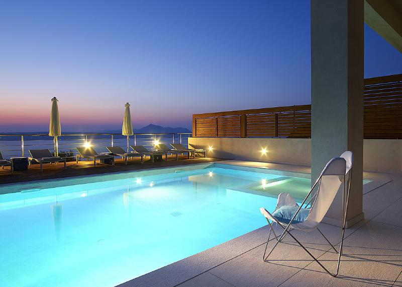 Relax by the pool at night