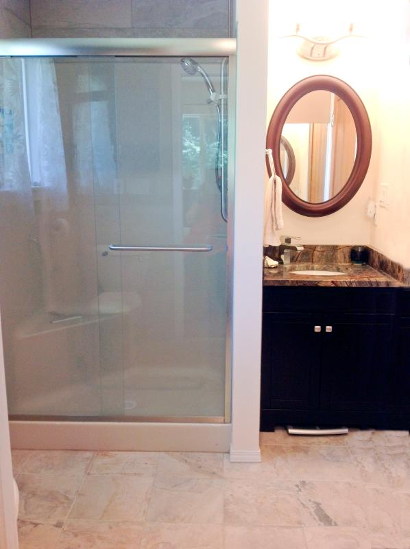 Sage Ensuite Washroom / Bathroom.  Heated floors makes it cozy in the morning.  Granite countertop