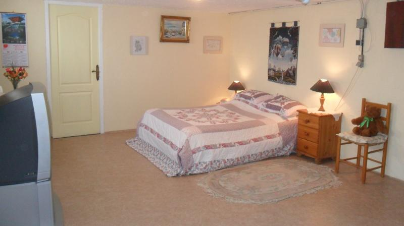 Spacious Bedroom with tea/coffee facilities and UK television, wi-fi available.