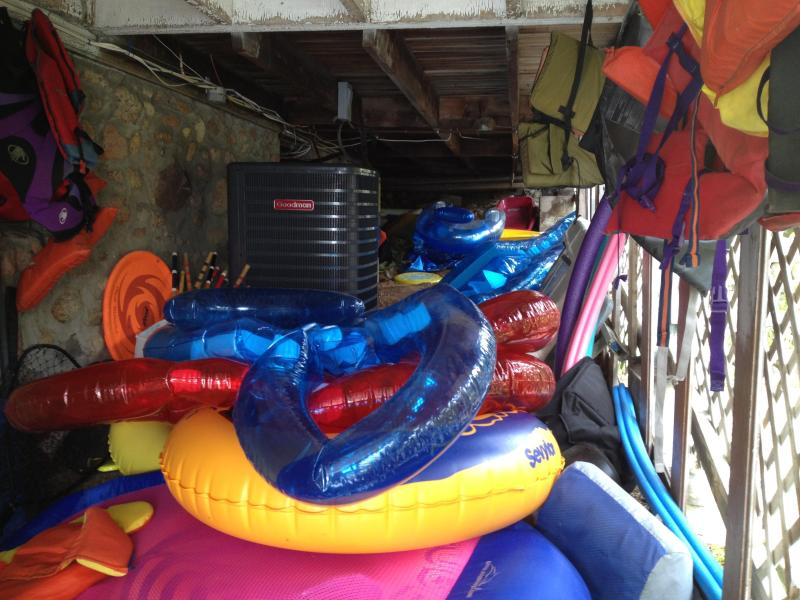 Plenty of blow up water toys