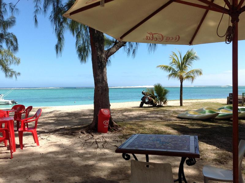 EMBA Filaos es un almuerzo tiempo favorito de nuestro s en la playa de Le Morne pescado fresco del día