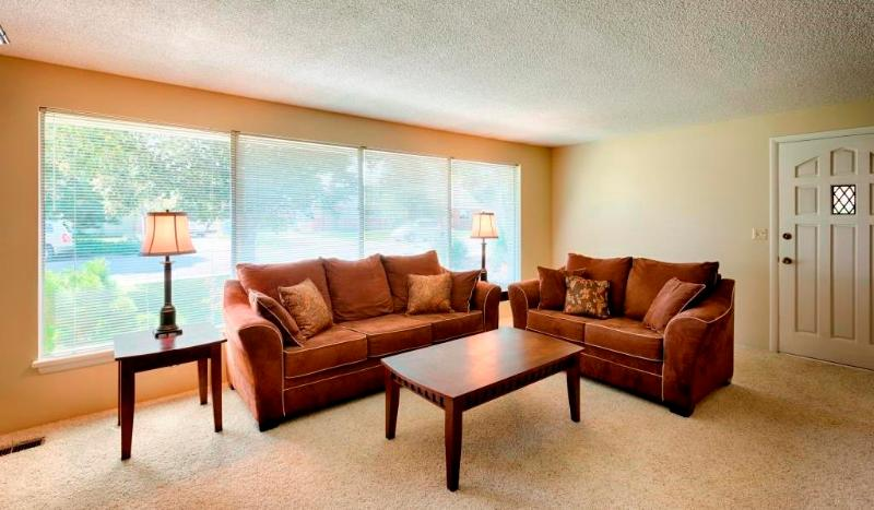 Large bank of windows in living room