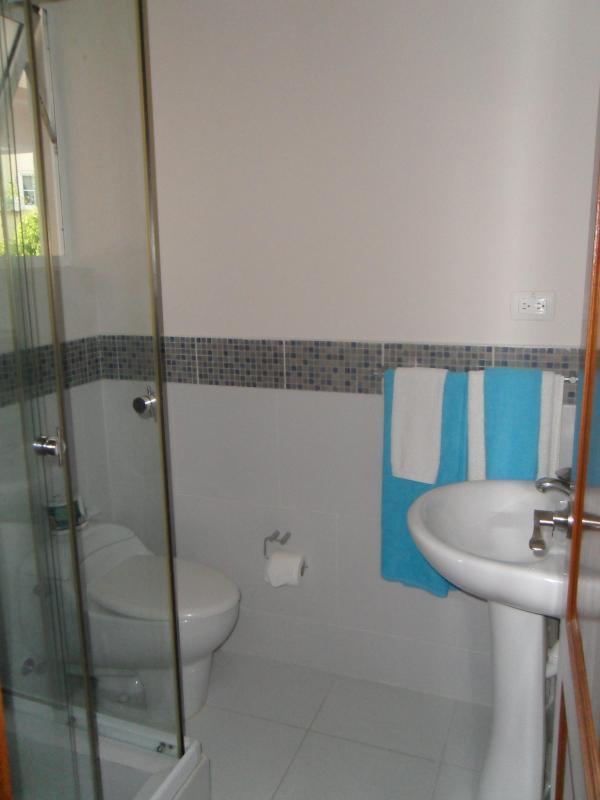 Baño con cabina de ducha de vidrio