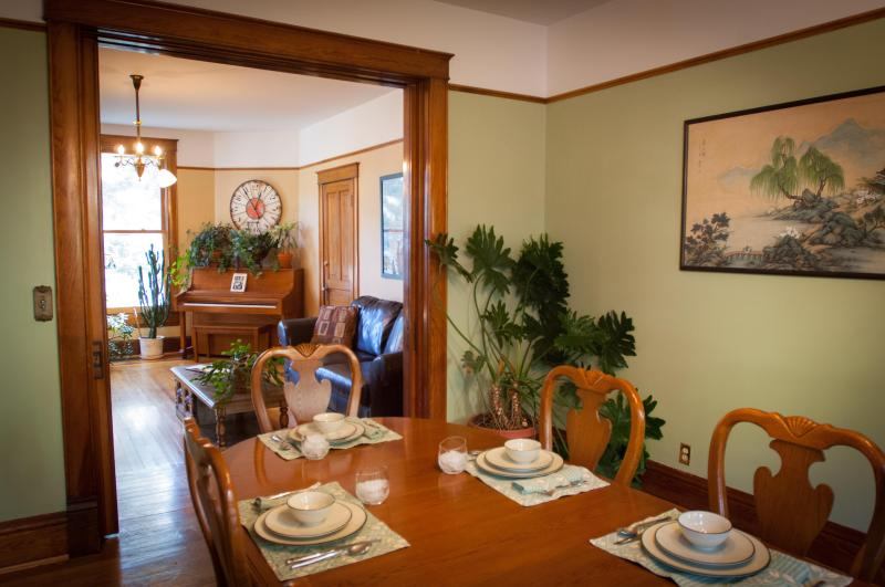 The dining room table can seat ten at a time.