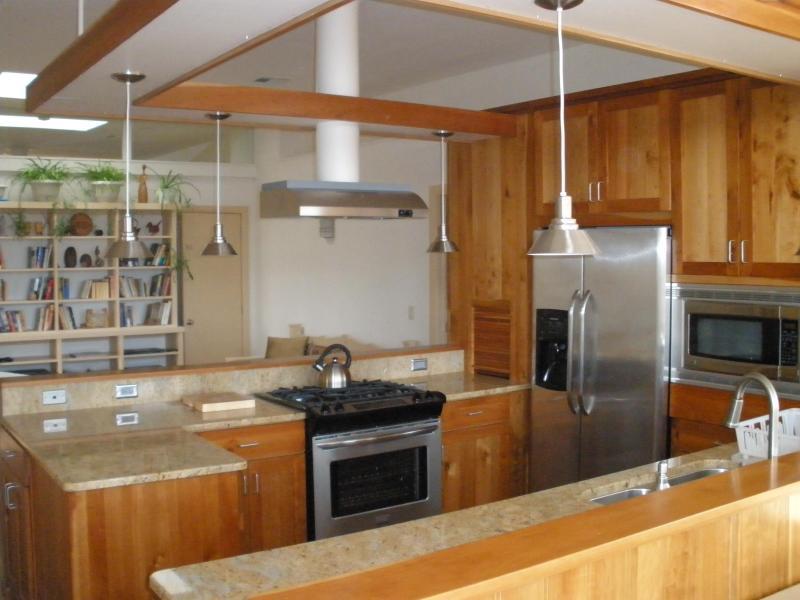 Open plan kitchen looking towards living area