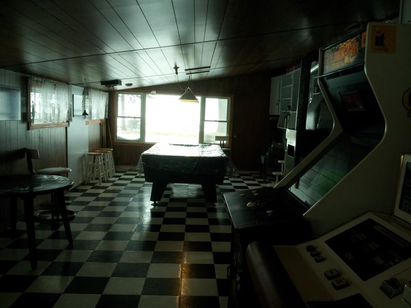 Cottage Entertainment Room with Video Games & Foosball