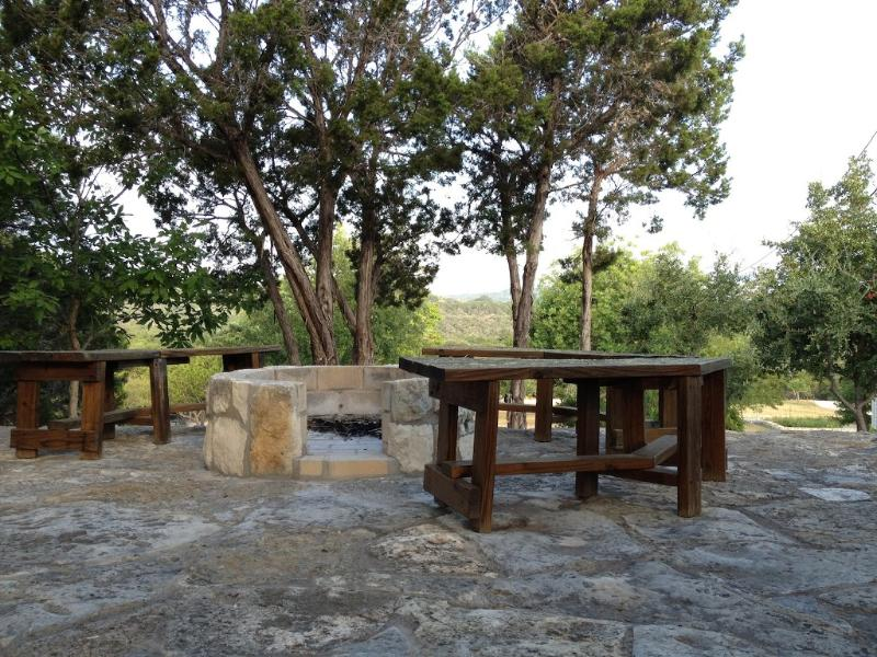 Stone cliff-top patio. Great for an evening fire, star-gazing and a glass of wine.