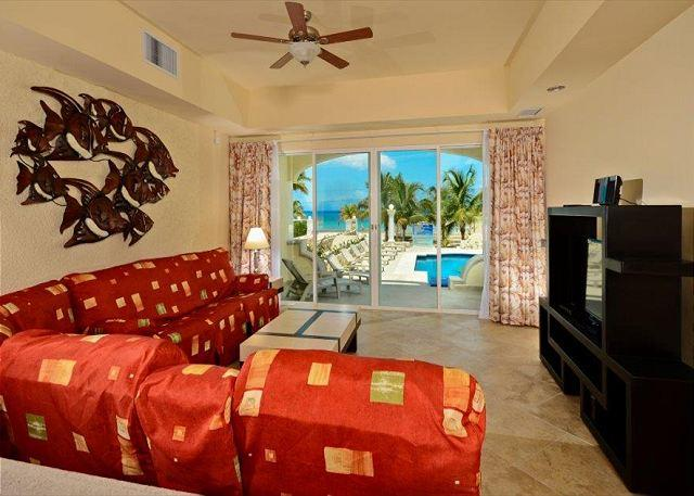 Spacious Living area with view and flat screen television!