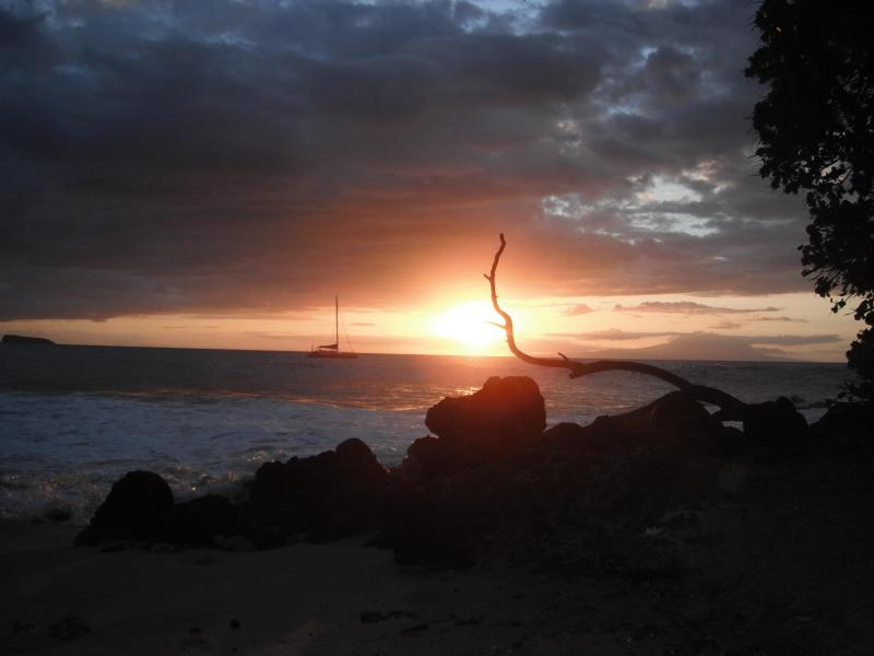 Famous sunsets here in MAKENA on Maluaka Beach right in front of our house