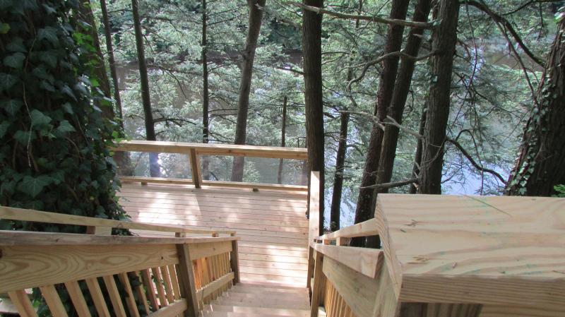 double decks overlooking creek