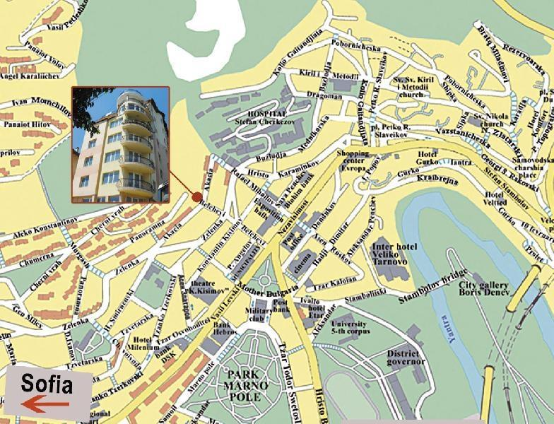 Location of the apartment in the heart of Veliko Tarnovo close to all sights