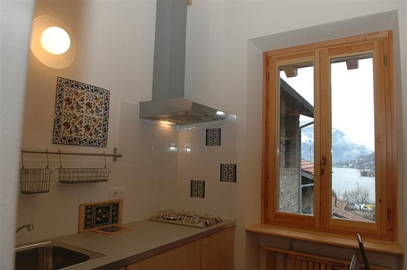 Kitchen with a lake view