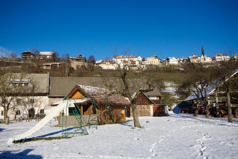 View of Radovljica old town from our farm (trampoline and other kids' games in summer)
