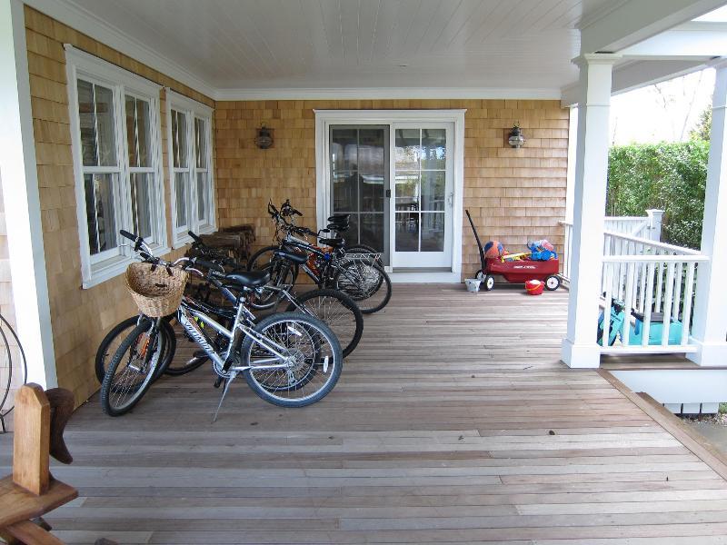 Wrap-around covered porch bike area