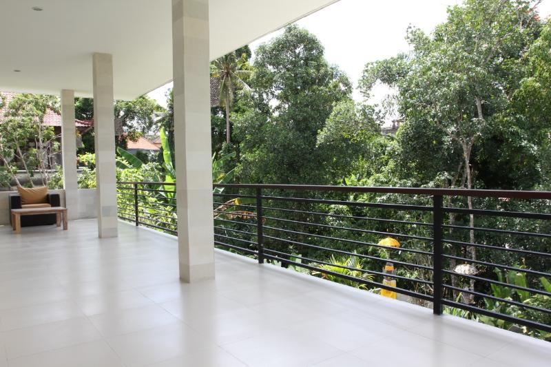 Balcony with views of rice paddies and river