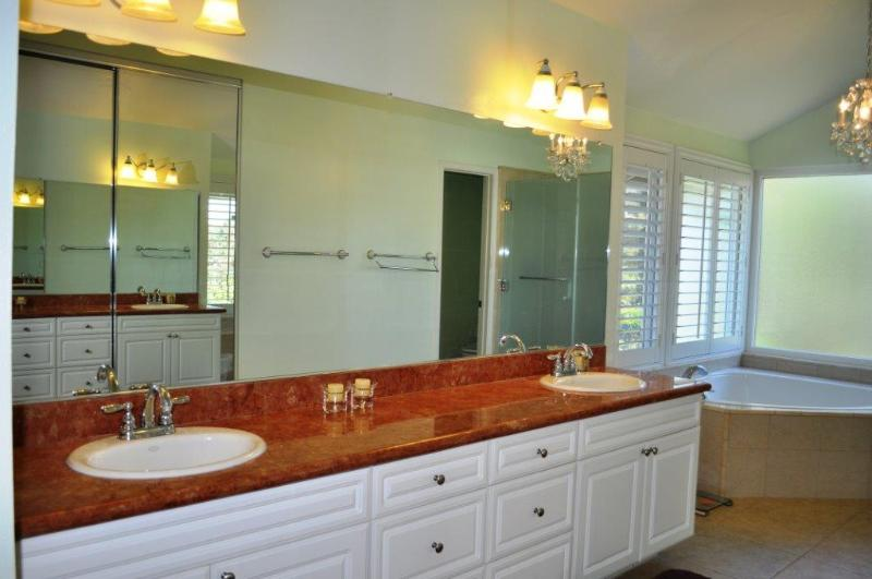 Master restroom with big bath tub