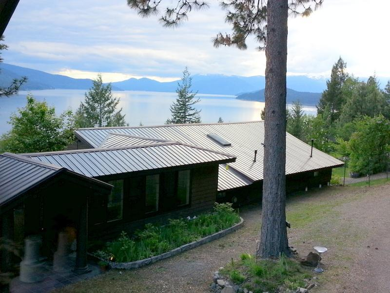 Guest house and lake perspective