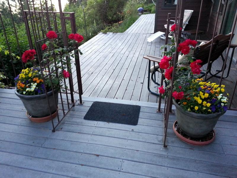 Flowers on guest house decks