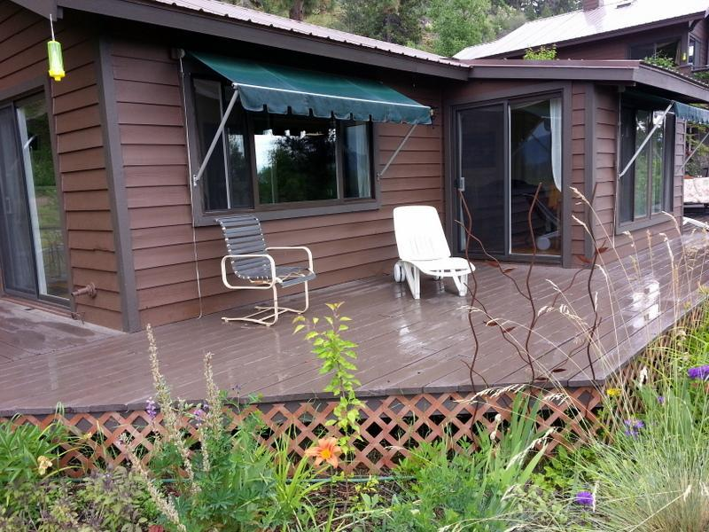 Lounge chairs on guest house decks