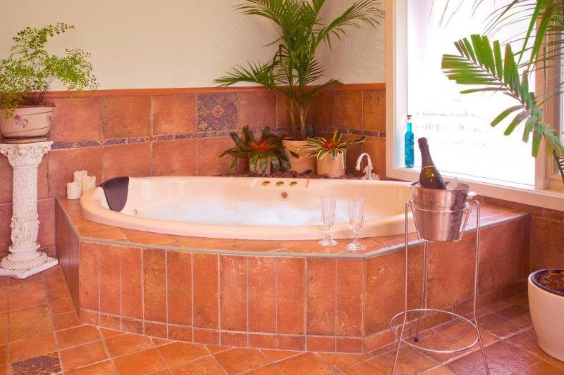 large bubbly spa for two overlooking courtyard