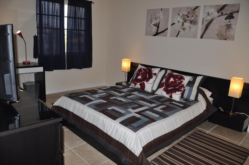 Luxurious master bedroom with a walk-in closet, desk, and 32 inch TV
