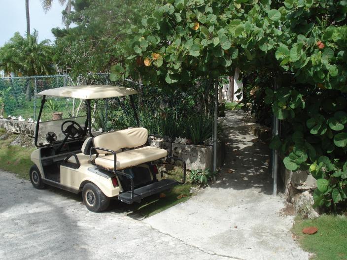 Percorso dalla strada di casa. Carrello di golf è dotato di casa.