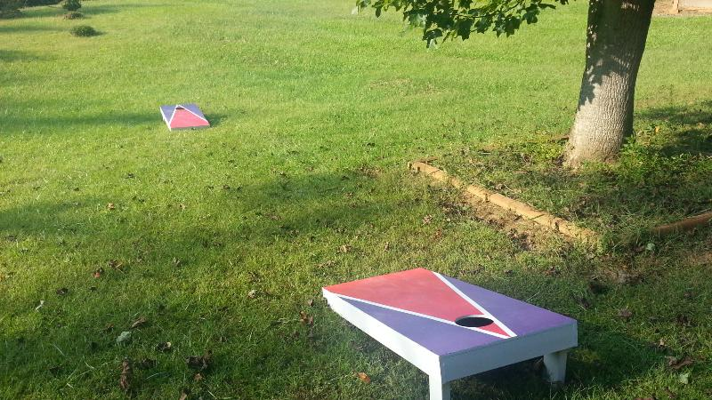 Cornhole in the front yard