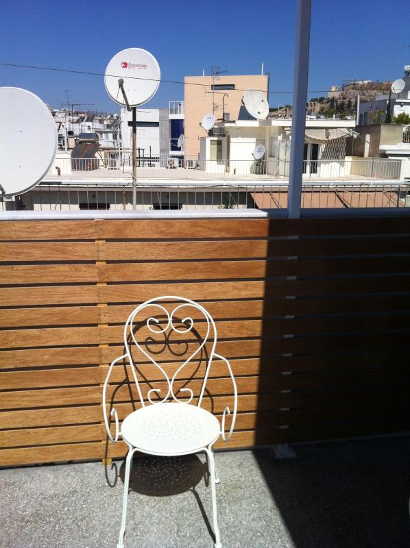 Balcon avec vue sur l'Acropole